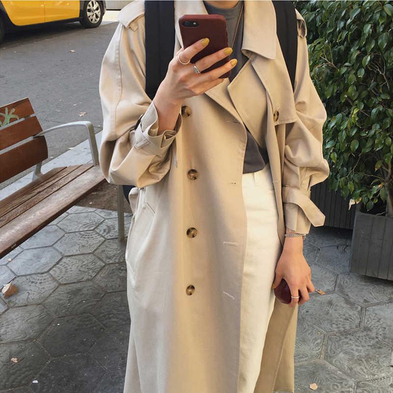 อังกฤษคู่ยาว Trench Coat เสื้อกันหนาวผู้หญิงแฟชั่นหญิง Turn-down คอยาวเสื้อกันหนาวฤดูหนาว 2019