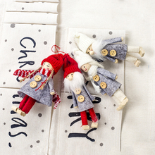 4pcs Wooden Doll Pendant Christmas Tree Hanging Ornaments Decoration Decorations for Home