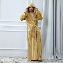 Flannel Robe Male With Hooded Thick Brand Designer Dressing Gown Coral Fleece Mens Bathrobe Winter Long Bath