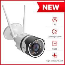 ZOSI – caméra de surveillance extérieure IP WiFi hd 1080p (H.265), étanche, couleur, Vision nocturne, Audio bidirectionnel, détection humaine par ia