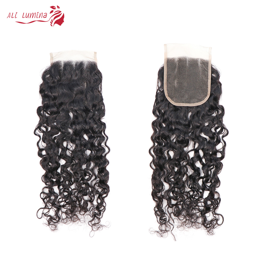 Curly Hair  Bundles 3 Bundles with 4*4 Lace Closure Natural Color  hair 100%  s Double Weft Hair 4