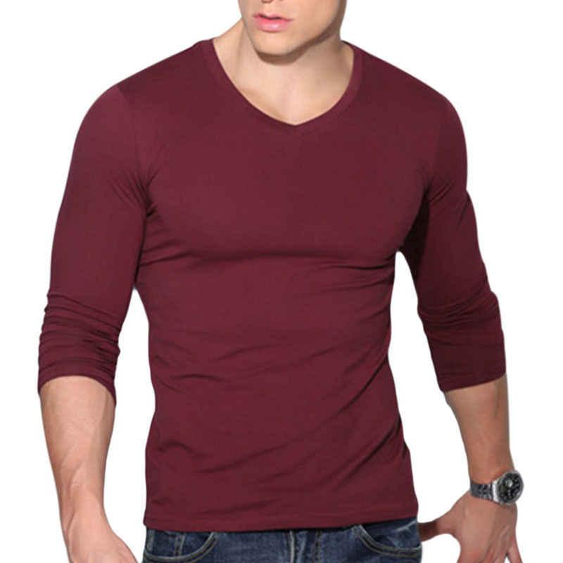 최신 도착 패션 핫 남자의 섹시한 긴팔 셔츠 v-목 캐주얼 슬림 맞는 t-셔츠 티 탑 블랙 레드 화이트 색상