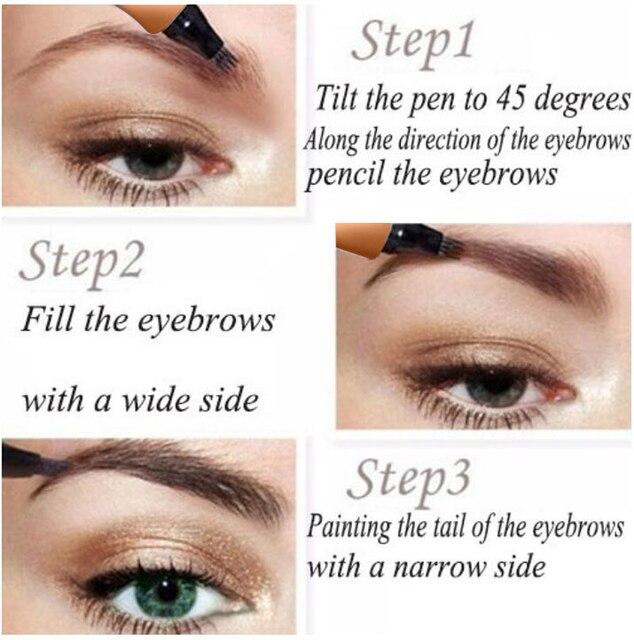 5 Colors Microblading Tattoo Eyebrow Pencil Waterproof Fork Tip 4 Head Fine Sketch Liquid Eyebrow Enhancer Dye Tint Pen TSLM2 2