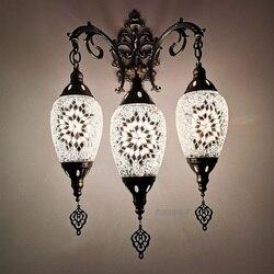 Najnowszy trend 3 głowice nowy styl śródziemnomorski Art Deco turecki mozaika kinkiet ręcznie szklana mozaika romantyczna ściana światło