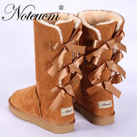 Genuine Leather Female Winter Flat Girl Furry Australia Shoe Ladies high Boot bow back With Lined Faux Fur Plush Snow Boot Women