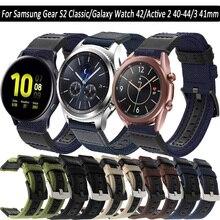 Correa de nailon de 20mm para reloj Samsung Galaxy Watch, 42 Gear S2 Active 2, 40, 44, 3, 41mm, accesorios de repuesto para reloj deportivo