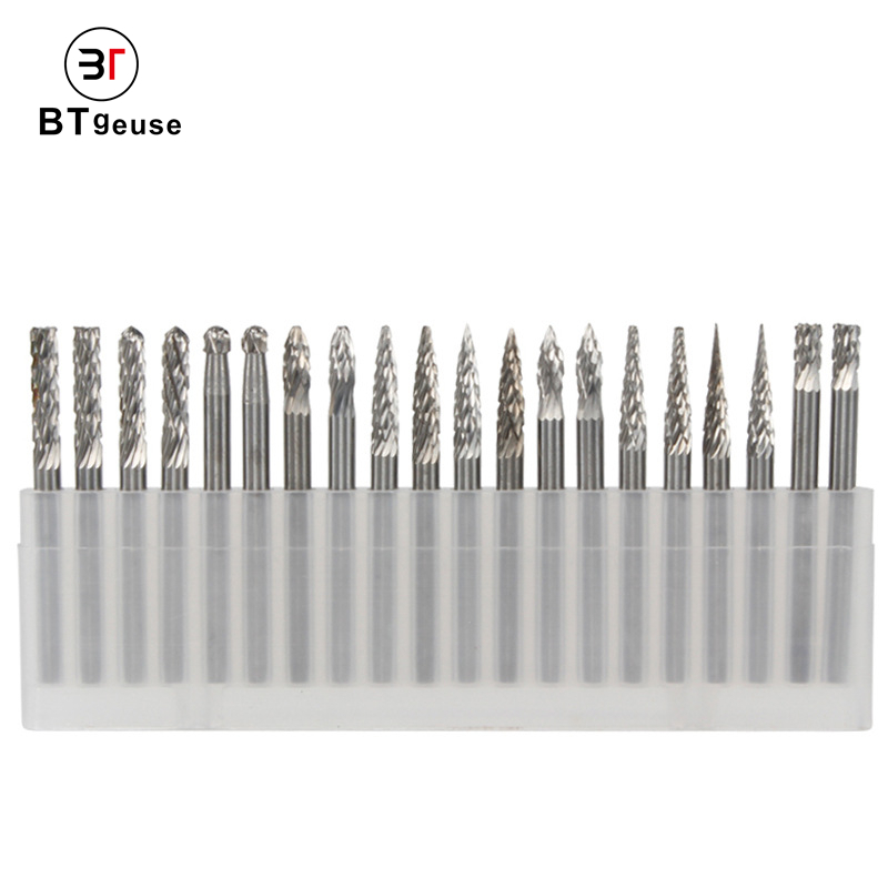 20pcs 3mm Shank Solid Tungsten Steel Carbide Rotary Burr Set For Drilling Carving Engraving Metals And Wood Working