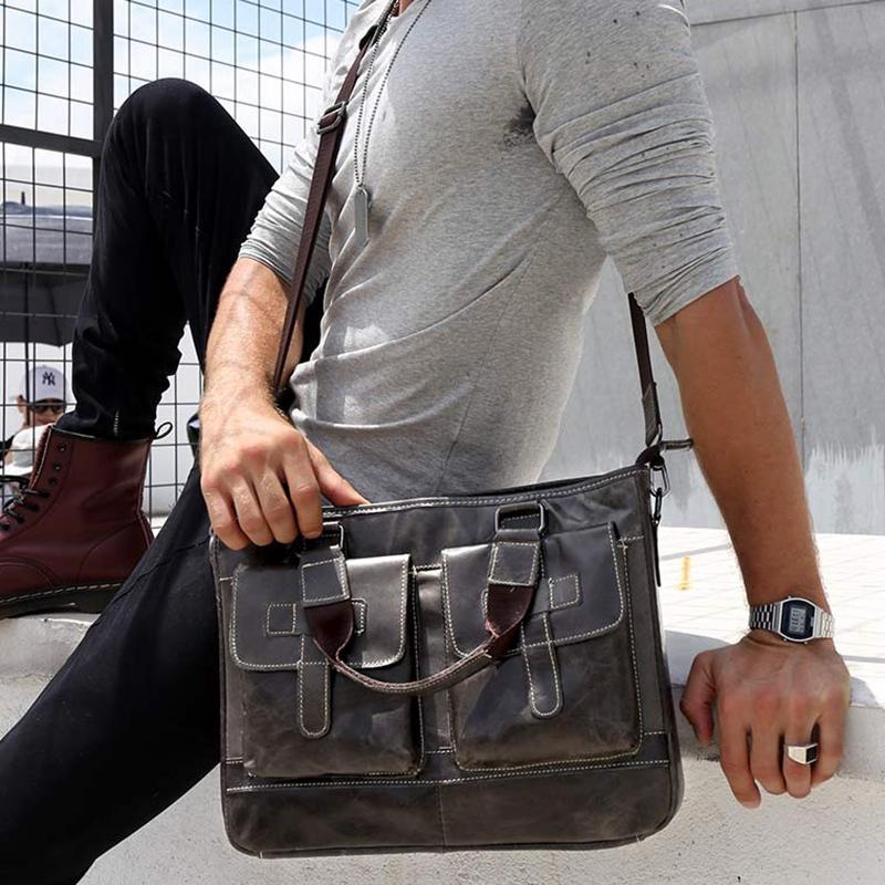 BULLCAPTAIN New Fashion Male Commercial Briefcase Real Leather Vintage Men'S Messenger Bag Casual Business Bag(Iron Cyan)
