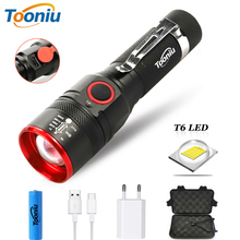 Portable LED Flashlight USB Rechargeable 3 Lighting Modes Zoomable Waterproof Torch with Free USB Cable Using 18650 Battery waterproof 5200lm usb rechargeable flash light xml t6 led flashlight zoomable 3 modes torch for 18650 with usb cable camping z40