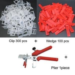 Image 4 - 401 Pcs Tegel Leveling Systeem 2 Mm 300 Stuks Clips + 100 Pcs Wiggen + 1 Stuk Tang Plastic Betegelen gereedschap Tegel Spacer