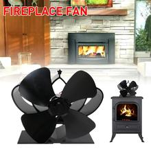 Fireplace Fan 4 Blade Heat Powered Stove Fan Komin Log Wood Burner Eco Friendly Quiet Fan Home Efficient Heat Distribution