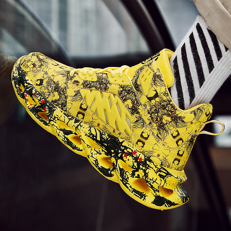 2019 New Graffiti Basket Shoes Fashion Men's Hip Hop Street Dance Shoes Professional Men Running Shoes Mesh High Quality Sneaker