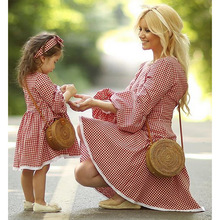 Mother Daughter Dress Family Clothing Three Quarter Sleeve Pink Plaid Summer Short Girls Clothes Women Kid Baby Outfits