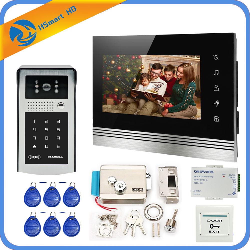 7'' Wired Video Door Phone System 1 Indoor Monitor HD Outdoor Camera Support RFID Password Unlock Visual Intercom Doorbell