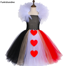 Платье пачка «Королева сердец» черного и красного цвета карнавальный костюм Алисы на Хэллоуин для девочек, детское платье на день рождения для детей от 2 до 12 лет