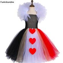 สีดำและสีแดงQueen Of Hearts TutuชุดAlice Carnivalฮาโลวีนคอสเพลย์เครื่องแต่งกายเด็กหญิงวันเกิดชุด2 12ปี