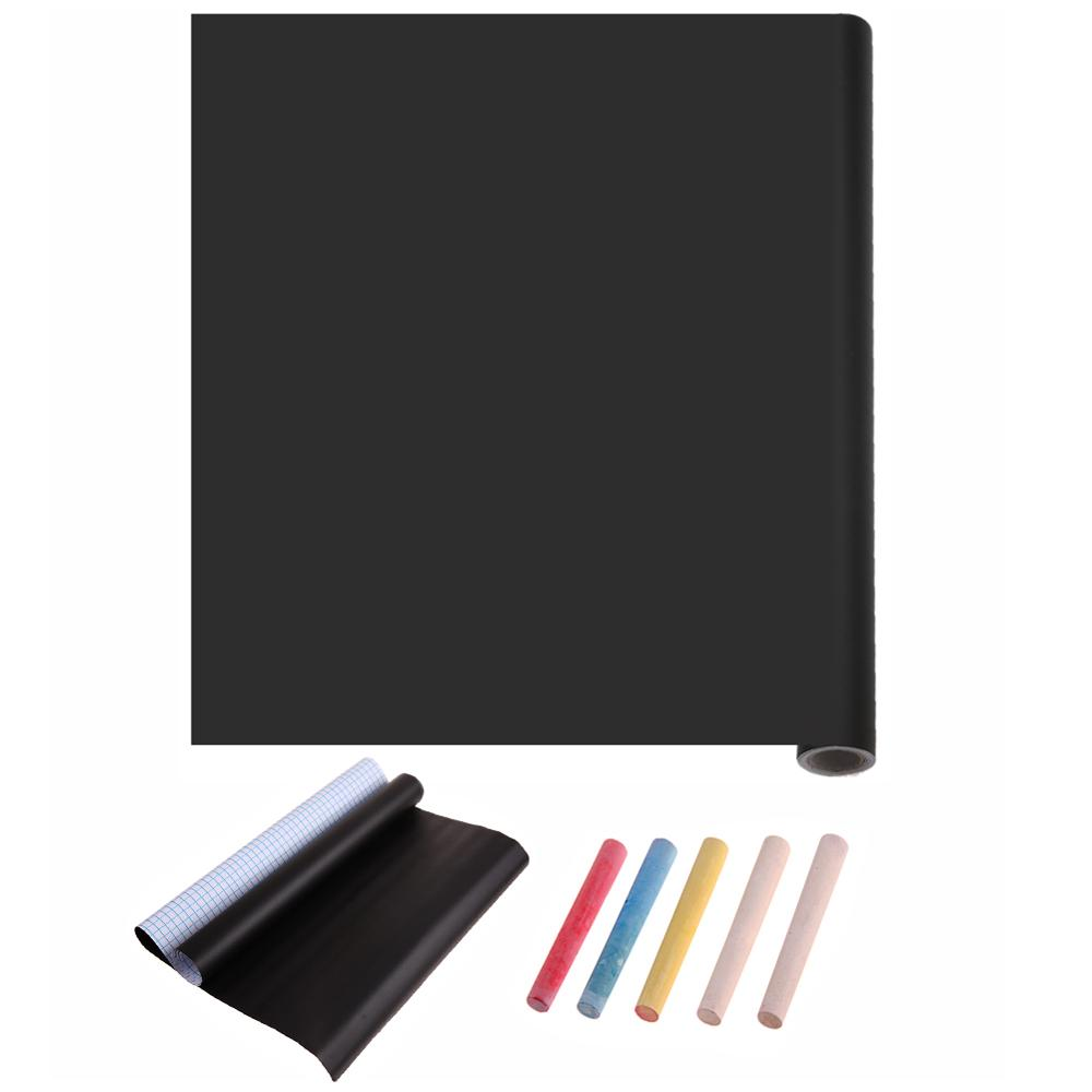 45*100cm PVC Waterproof Blackboard Sticker Movable Kid Graffiti Writing Board (Black) With 5xColorful Chalk Teaching Tool Supply