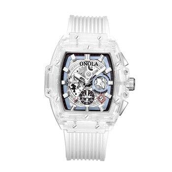 Digital Wristwatches Transparent Quartz Waterproof aaa Luxury Watch Mens Multifunction Man Watches Square White Fashion Clocks