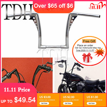 """12"""" Rise 1 1/4"""" Wide Drag Bars Chrome Black Motorcycle Handlebar APE Hanger Fat Bar For Harley Sportster Touring Dyna FLST FXST"""
