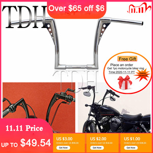 "Image 1 - 12"" Rise 1 1/4"" Wide Drag Bars Chrome Black Motorcycle Handlebar APE Hanger Fat Bar For Harley Sportster Touring Dyna FLST FXST"