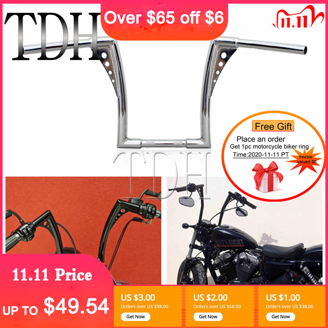 "12"" Rise 1 1/4"" Wide Drag Bars Chrome Black Motorcycle Handlebar APE Hanger Fat Bar For Harley Sportster Touring Dyna FLST FXST"