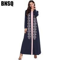 BNSQ Ethnic Embroidery Abaya Two Color Stitching Long Sleeved Mopping Dress Muslim Islamic Ramadan Clothing