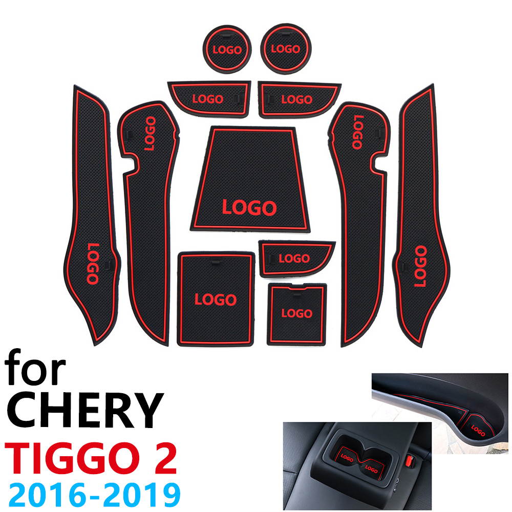 Anti-Slip Rubber Cup Cushion Door Groove Mat For Chery Tiggo 2 Tiggo2 Tiggo 3x MVM X22 DR3 2016~2019 Accessories Mat For Phone