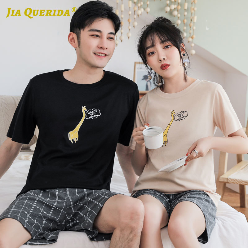 Pajama New Couple Pajamas Set Homesuit Homeclothes Fashion Style Casual Style Women And Men Short Sleeve Short Pants Sleepwear