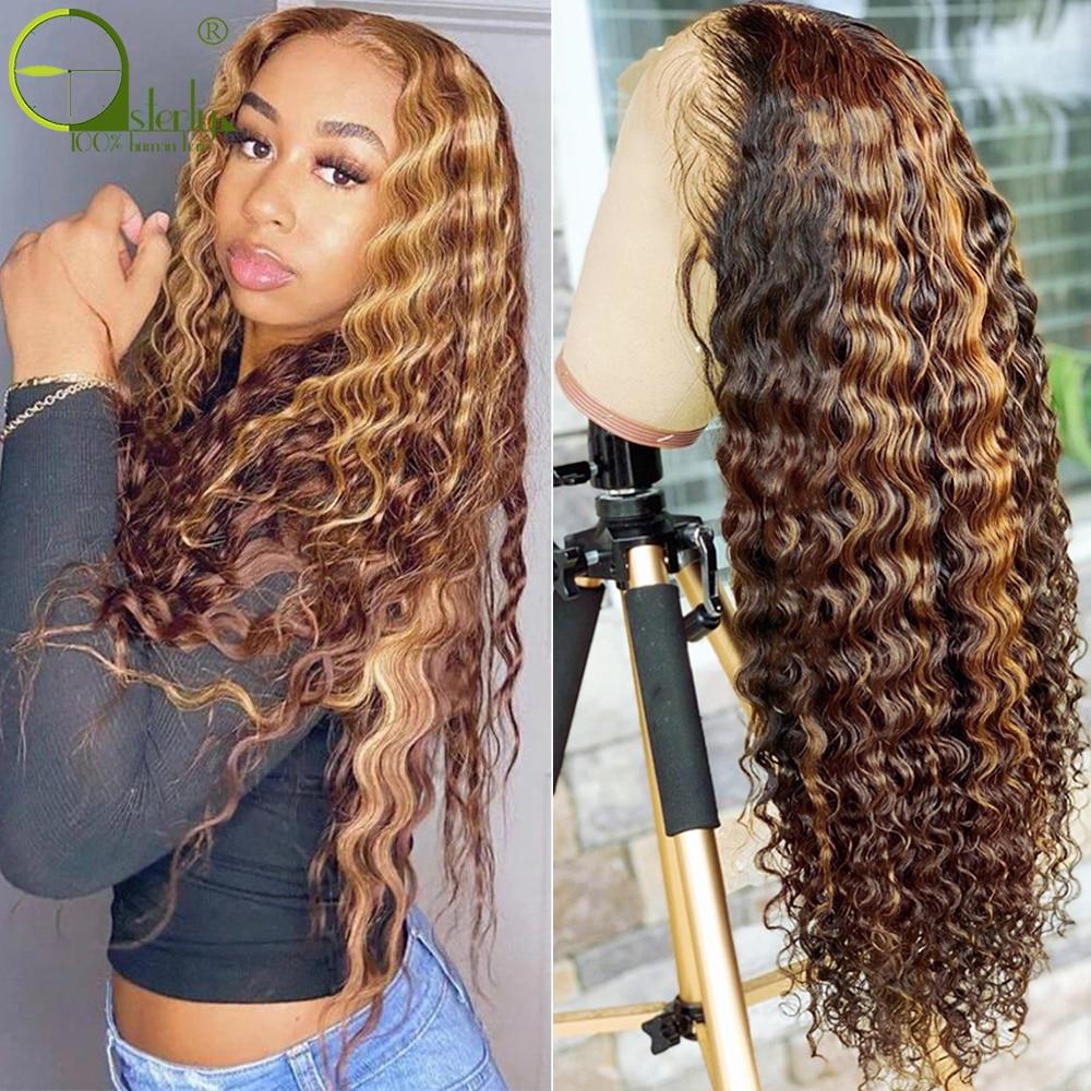 Sterly destaque brasileiro peruca marrom colorido perucas de cabelo humano t parte peruca do laço 4/27 remy onda profunda frente do laço perucas de cabelo humano