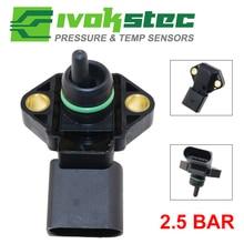 0281002177 2.5 BAR bezwzględnego w kolektorze czujnik ciśnienia dla AUDI A2 A3 A4 A6 TT 1.2 1.4 1.8 T 1.9 2.5 TDI 038906051 062906051