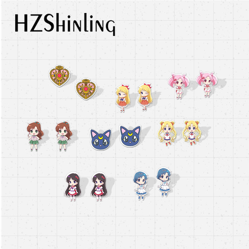 2019 New Sailor Moon Acrylic Resin Earrings Super Sailor Moon Anime Cartoon Style Epoxy Acrylic Earrings For Girls