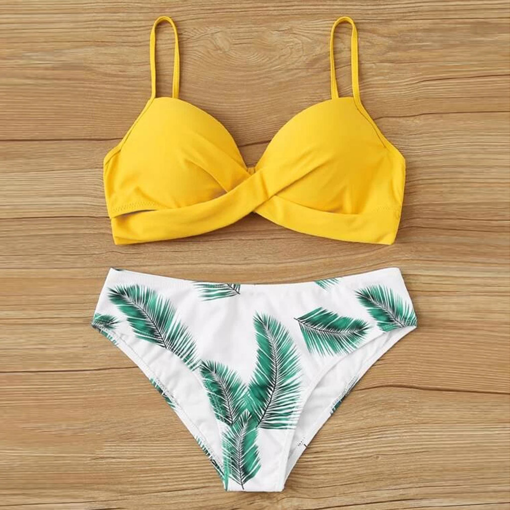 2020 Women's Sexy Fashion Swimwear Leaf Print Split Swimwear Bikini Yellow Plus Size Bikini Set Two Pieces Swimsuit