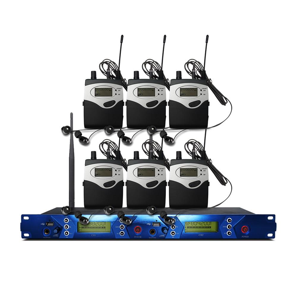 Professionelle wireless in-ear monitoring system, professionelle bühne leistung überwachung system mit 6 bodypack sender