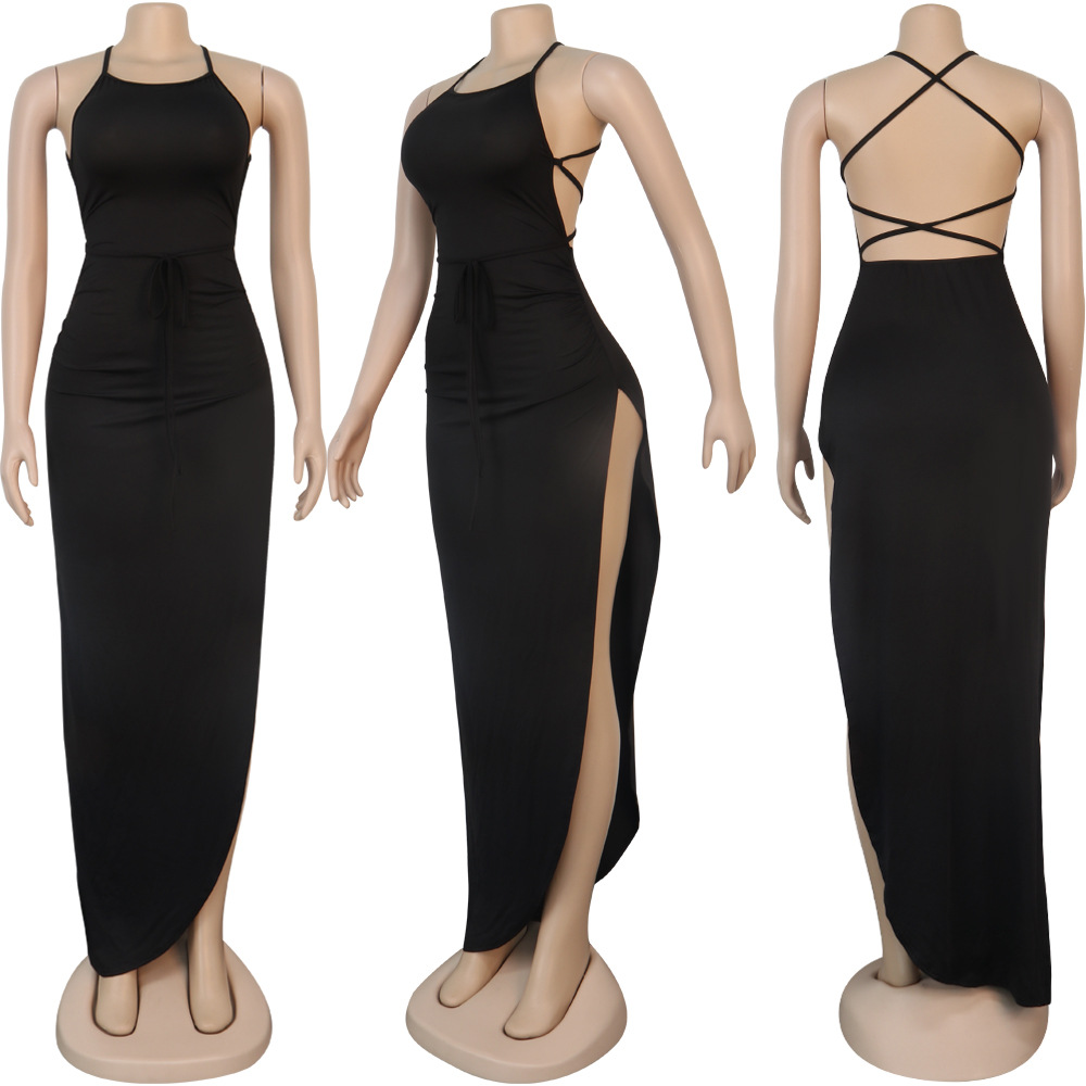 ANJAMANOR Black Assymetric Backless High Split Maxi Dresses Sexy Club Outfits for Women Vacation Beach Clothes D35-BI24 6