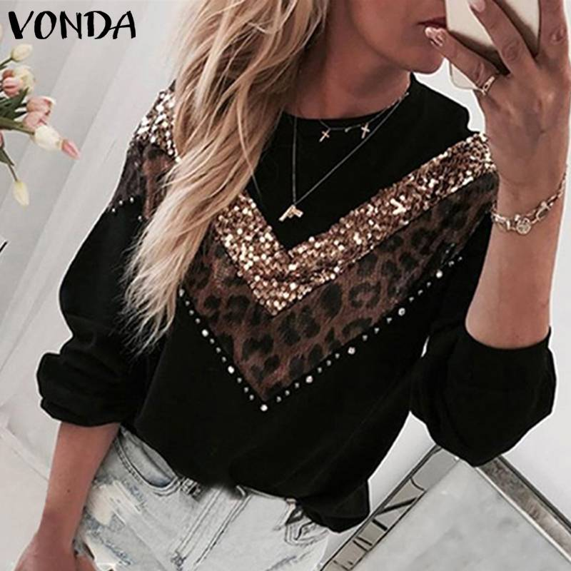 VONDA Vintage Sweaters Plus Size Women Leopard Patchwork Blouses Casual Knitwear Long Sleeve Round Neck Knitted Sweater S-5XL