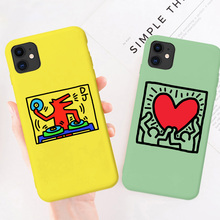 Graffiti Keith Haring Soft Silicone TPU Phone Cover for iPhone 11 pro max SE2020 8 7 6 6S Plus Coque case for iphone X Xr Xs Max silicone phone case for iphone 8 7 6 6s plus x xr xs max soft tpu van gogh starry night cover for apple iphone 11 pro max coque