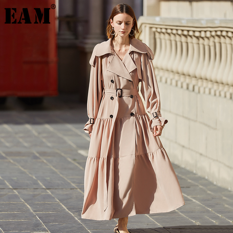 [EAM] Women Double Breasted Pleated Temperament Dress New Lapel Long Sleeve Loose Fit Fashion Tide Spring Autumn 2020 1S069