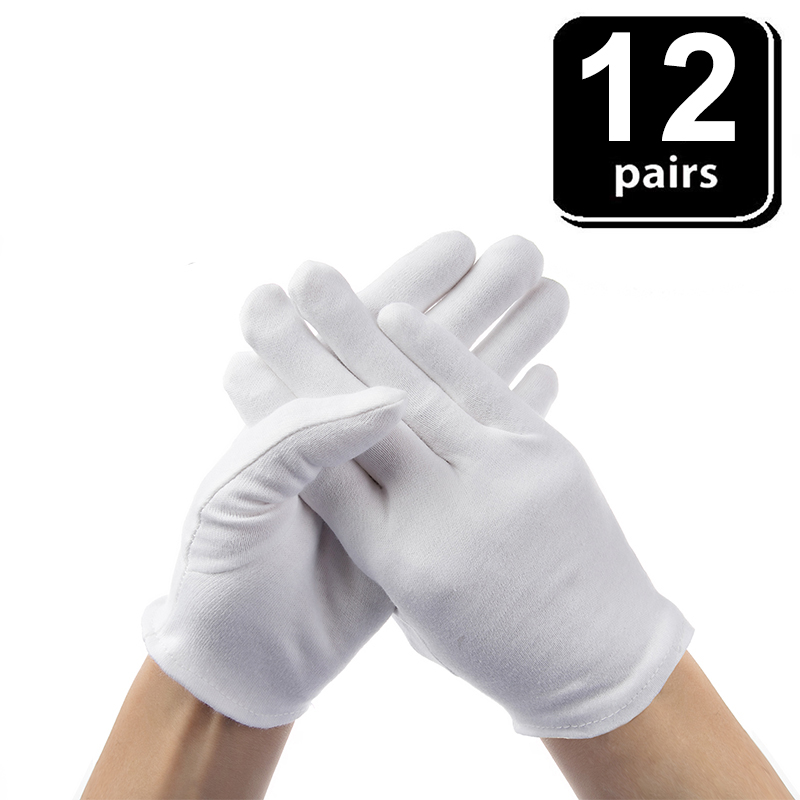 24PCS White Gloves 12 Pairs Soft Cotton Gloves Coin Jewelry Silver Inspection Gloves Stretchable Lining Glove