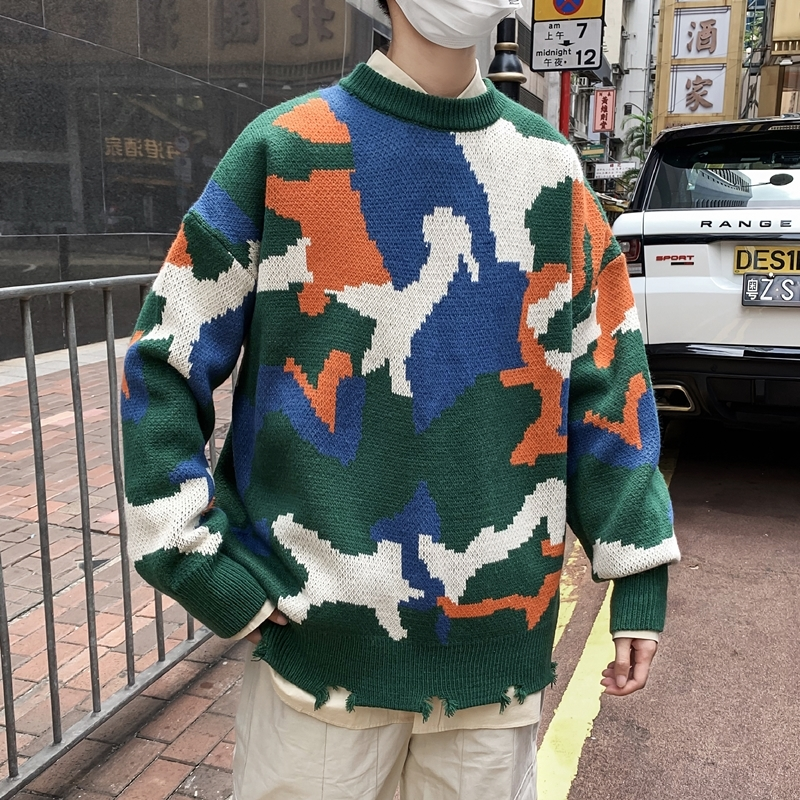 UYUK2019 Autumn Winter New Round Collar Men Thickened Camouflage Geometric Contrast Color Versatile Casual Sweater Homme
