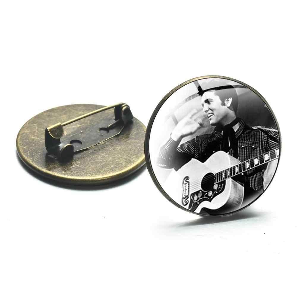 シャンヴィンテージ写真エルヴィス · プレスリーガラスブローチピン人気ロックスター男性女性収集シルバーブロンズバッジ衣類付属品