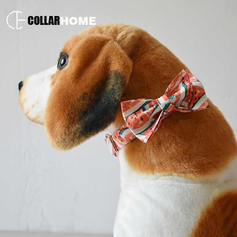 แตงโมสุนัขสำหรับขนาดกลางขนาดใหญ่สุนัขสัตว์เลี้ยงสร้อยคอ Bow Tie ปรับ Rose Gold หัวเข็มขัดโลหะคริสต์มาสของขวัญ