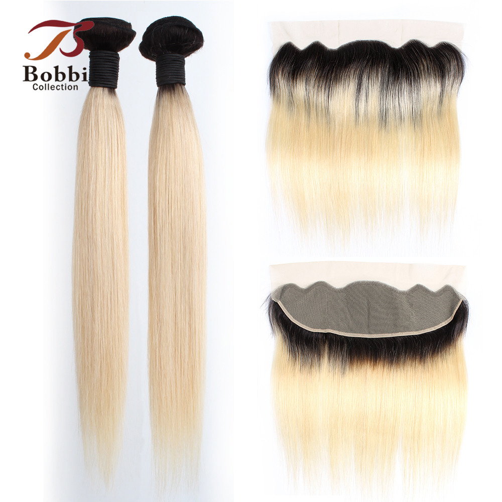 BOBBI COLLECTION Dark Root Platinum Blonde 1B 613 Bundles With Frontal Brazilian Non-Remy Straight Human Hair 4x13 Lace Frontal