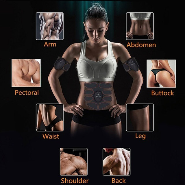 EMS Muscle Stimulator Trainer Smart Fitness Abdominal Training Stimulator Body Shaping Slimming Belt Unisex Stickers Massager 4