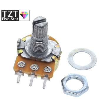 WH148 Linear Potentiometer 15mm Shaft With Nuts And Washers 3pin WH148 B1K B2K B5K B10K B20K B50K B100K B250K B500K B1M