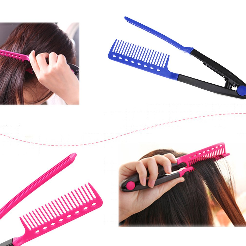 Fashion V Type Hair Comb Hair Straightener Combs DIY Salon Haircut Hairdressing Styling Tool Barber Anti-static Combs Brush