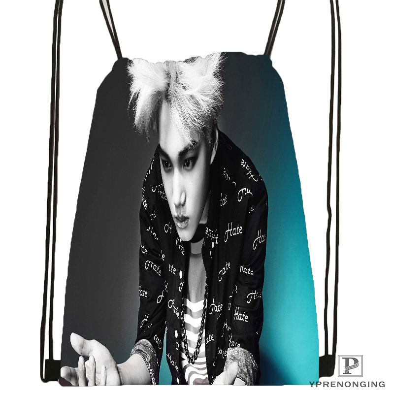 Custom EXO  (31) Drawstring Backpack Bag Cute Daypack Kids Satchel (Black Back) 31x40cm#180531-04-72