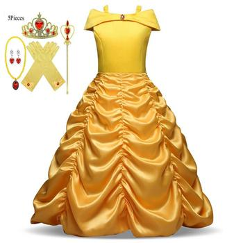 Beauty Princess Dress Beauty and the Beast Girl Dress Child Party Costume Magic Wand Crown Child Costume Yellow Belle Princess princess bell dress purple mesh beauty and the beast a line cosplay dress kids carnival costume halloween party show vestido