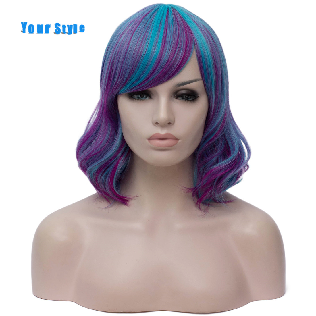 Your Style 9 Colors Synthetic Cosplay Wigs With Bangs Women Short BOB Wavy Wigs Ombre Black  Green Pink High Temperature Fiber