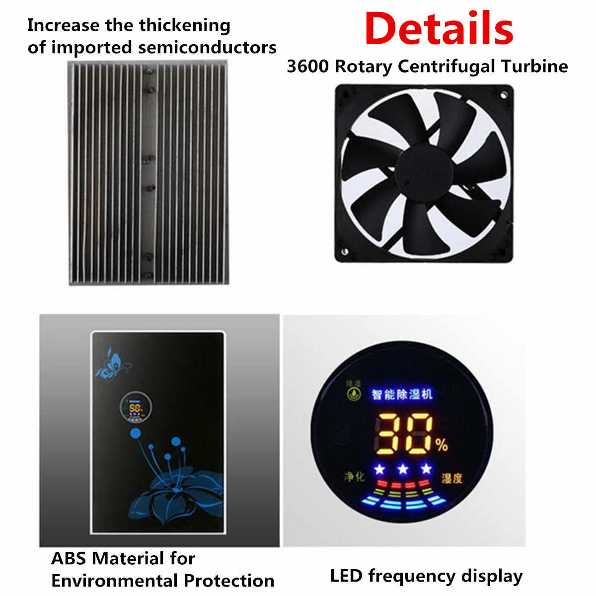 מסיר לחות בבית מסיר לחות אילם שינה מרתף מיני ספיגת לחות מייבש גדול מסך LED חיצוני מים צינורות 220V