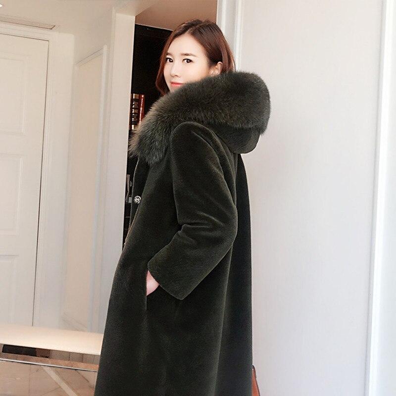 Real Women Sheep Shearling Coat Winter Warm Lamb Fur Jacket Woolen Overcoat Abrigos Mujer Invierno 2020 R15Y2896 YY592